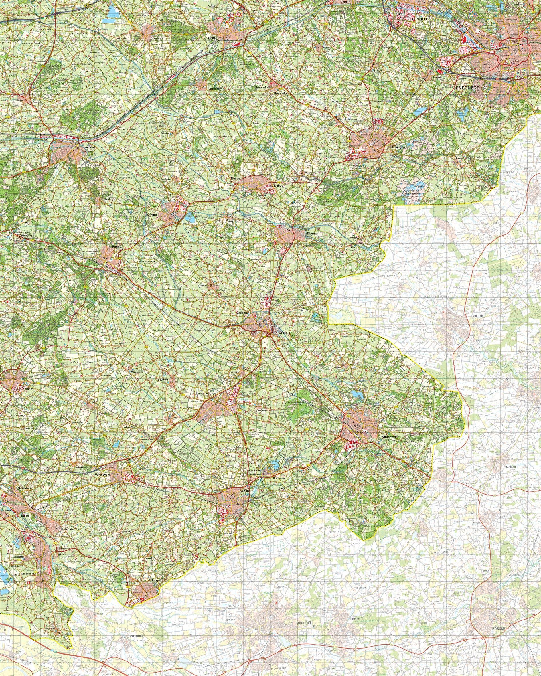 Topografische kaart schaal 1:50.000 (Enschede,Haaksbergen,Lichtenvoorde,Winterswijk)