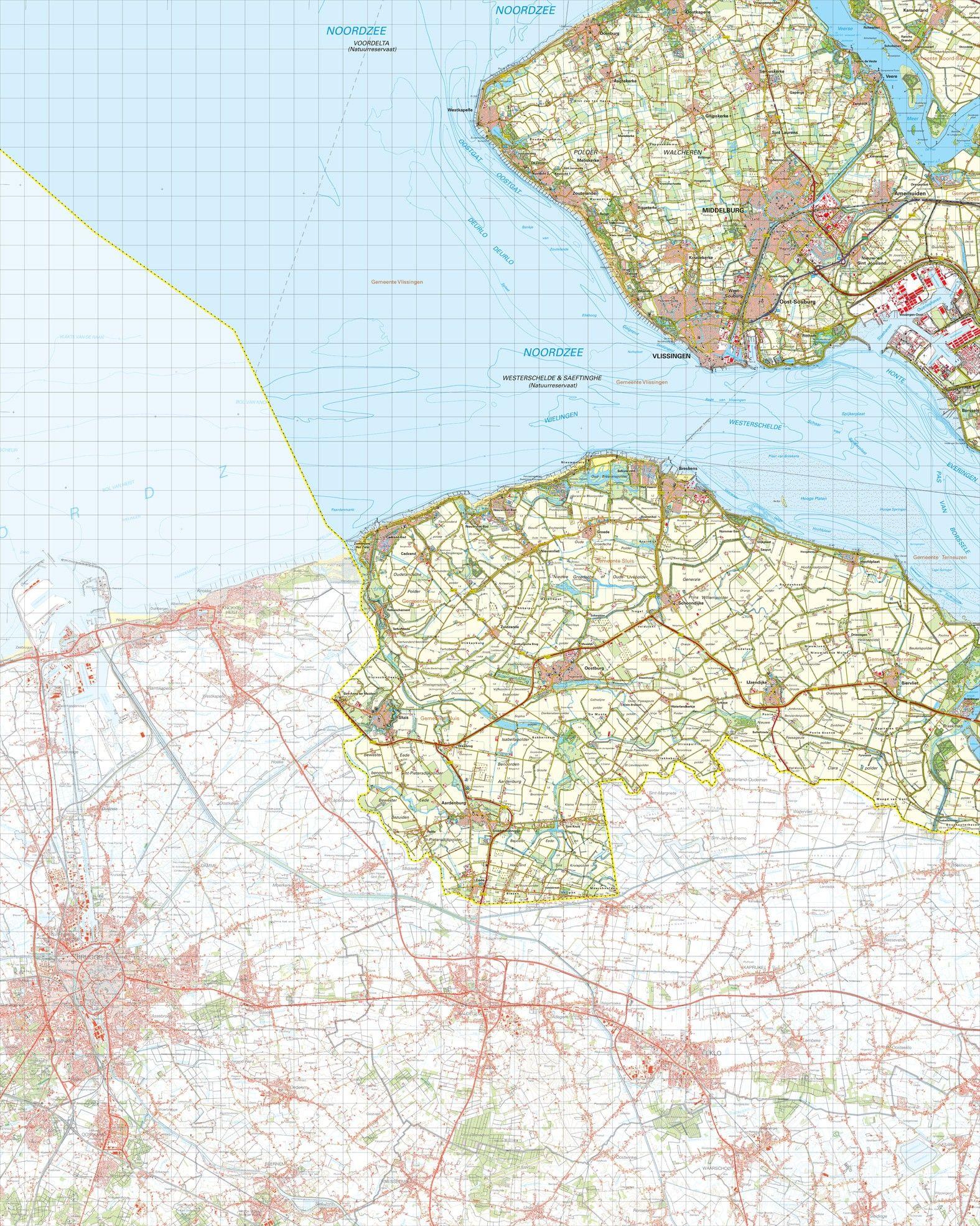Topografische kaart schaal 1:50.000 (Middelburg,Vlissingen,Breskens,Oostburg,Sluis)
