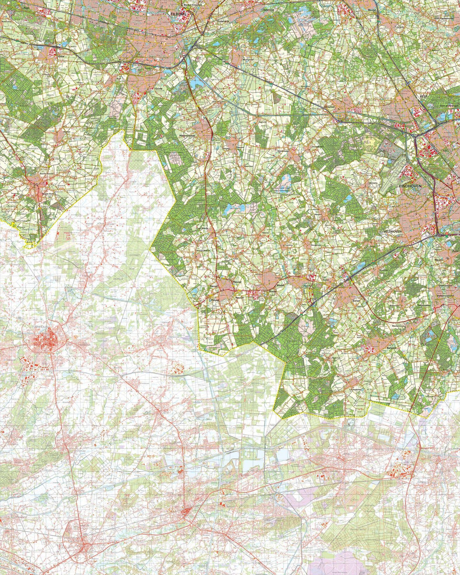 Topografische kaart schaal 1:50.000 (Tilburg,Oirschot,Best,Eindhoven,Bladel)