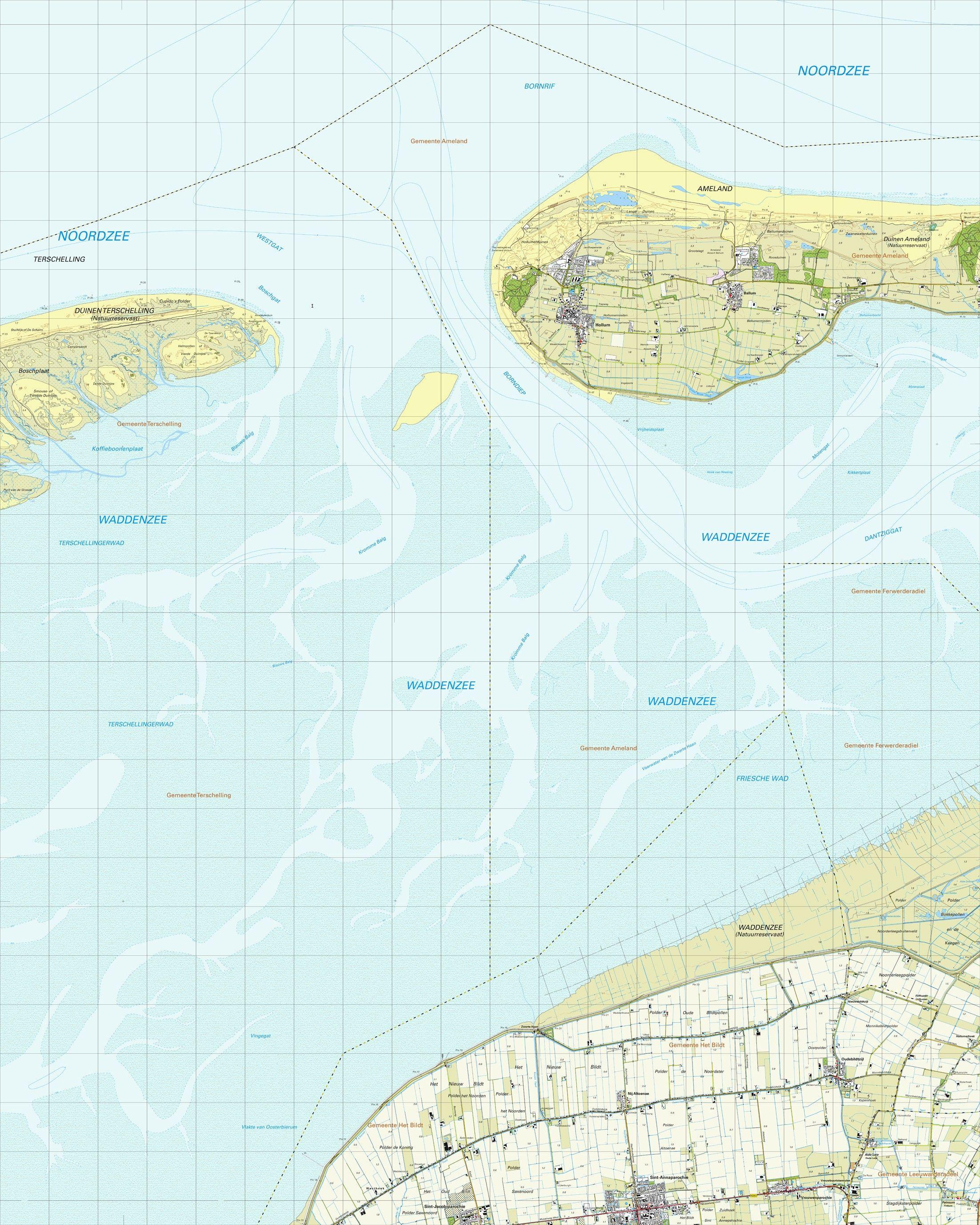 Topografische kaart schaal 1:25.000 (Ameland,Sint-Annaparochie,Vrouwenparochie)
