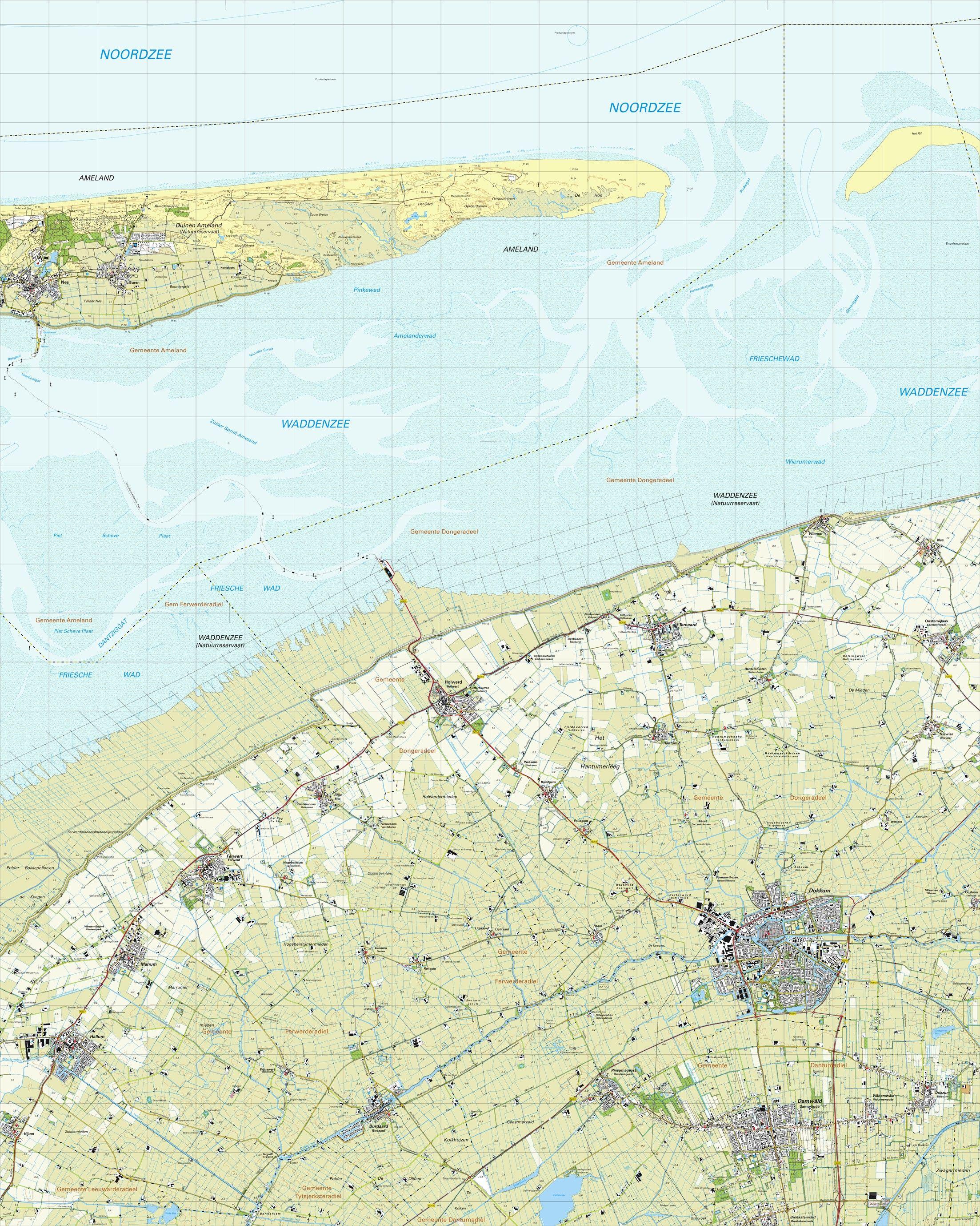 Topografische kaart schaal 1:25.000 (Ameland,Marrum,Hallum,Dokkum,Damwoude)