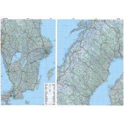 Landkaart Zweden 1:800.000 met plaatsnamenindex