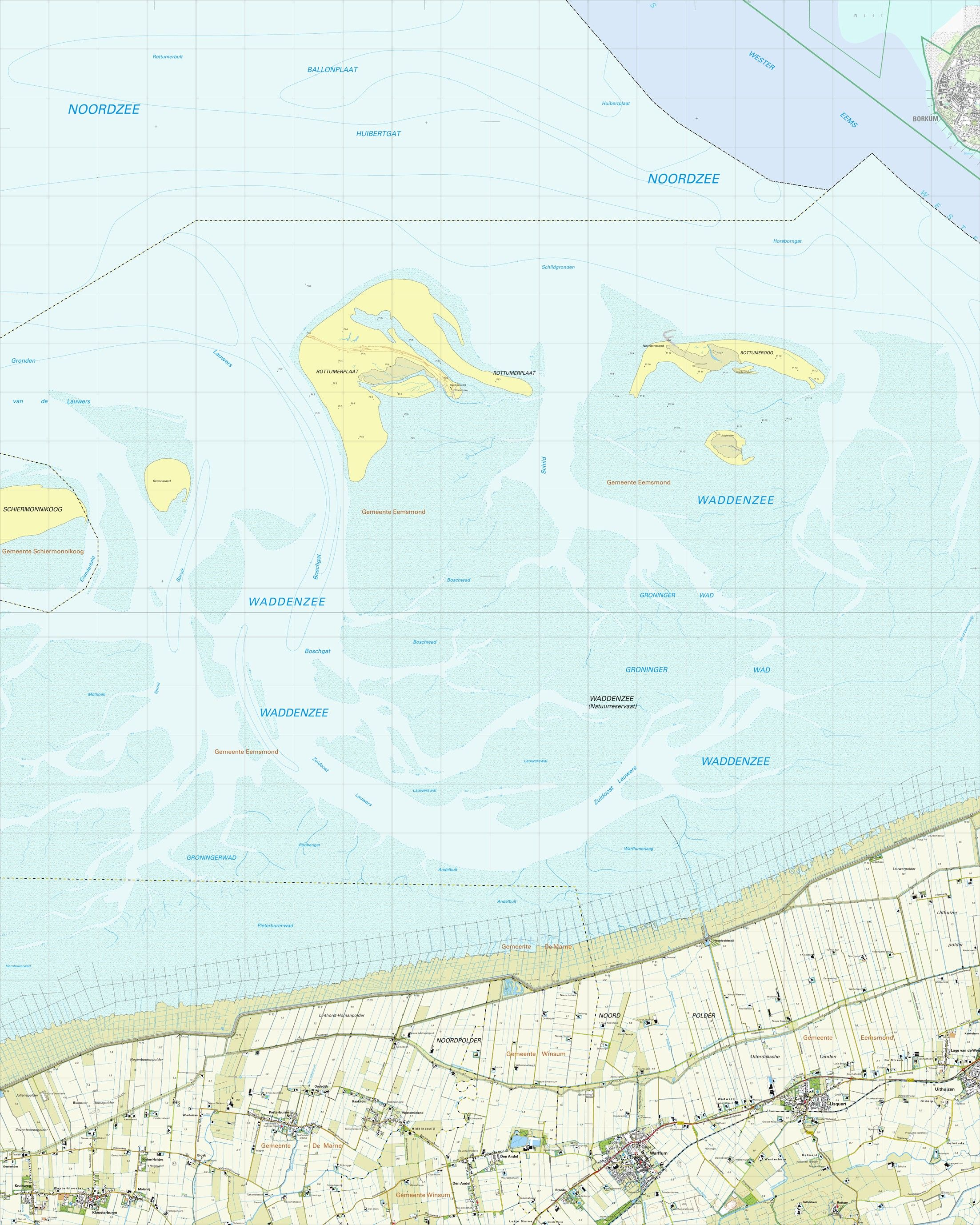 Topografische kaart schaal 1:25.000 (Schiermonnikoog,Rottumerplaat,Rottumeroog,Warffum,Pieterburen)