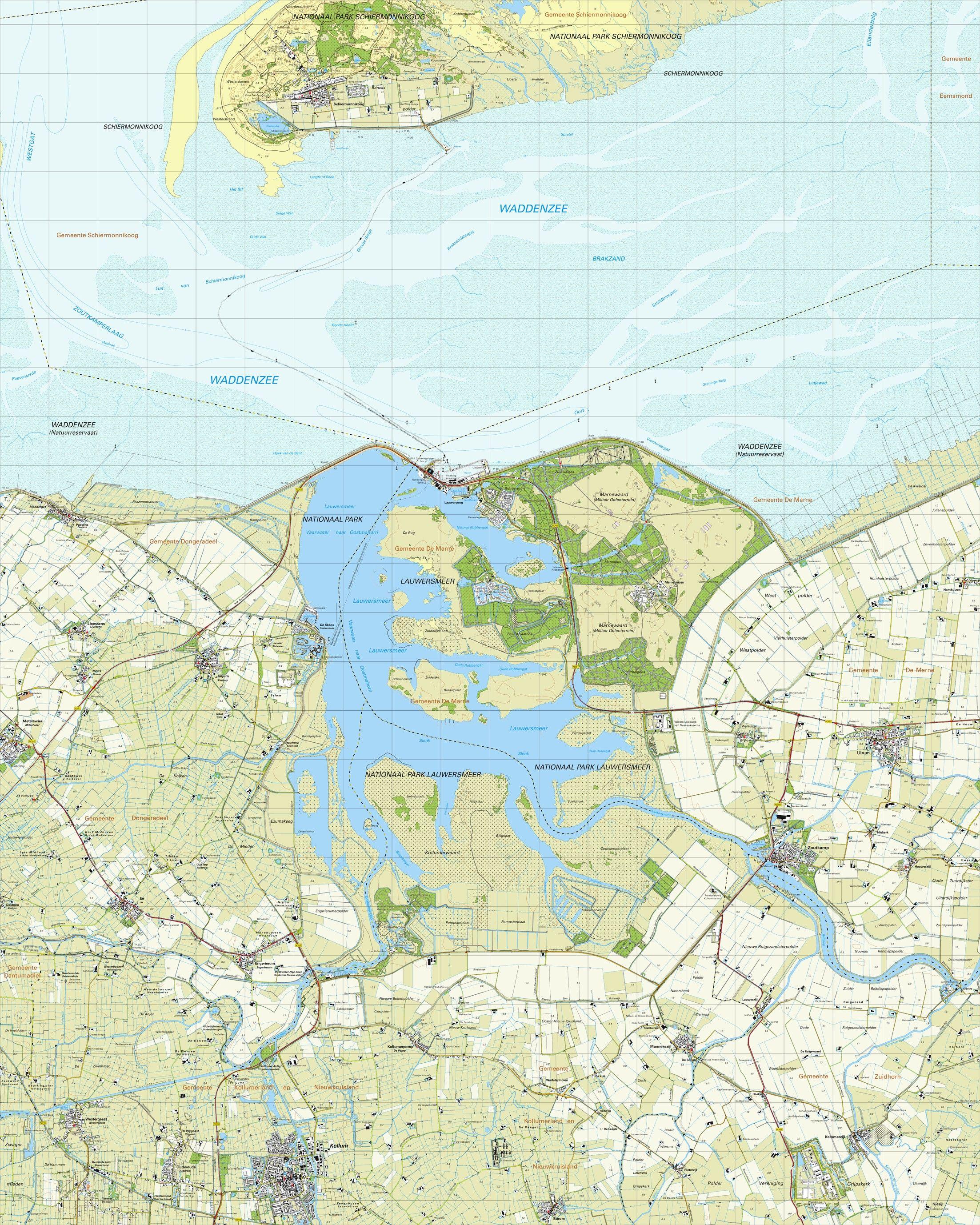 Topografische kaart schaal 1:25.000 (Schiermonnikoog,Anjum,Kollum,Munnekezijl,Zoutkamp)