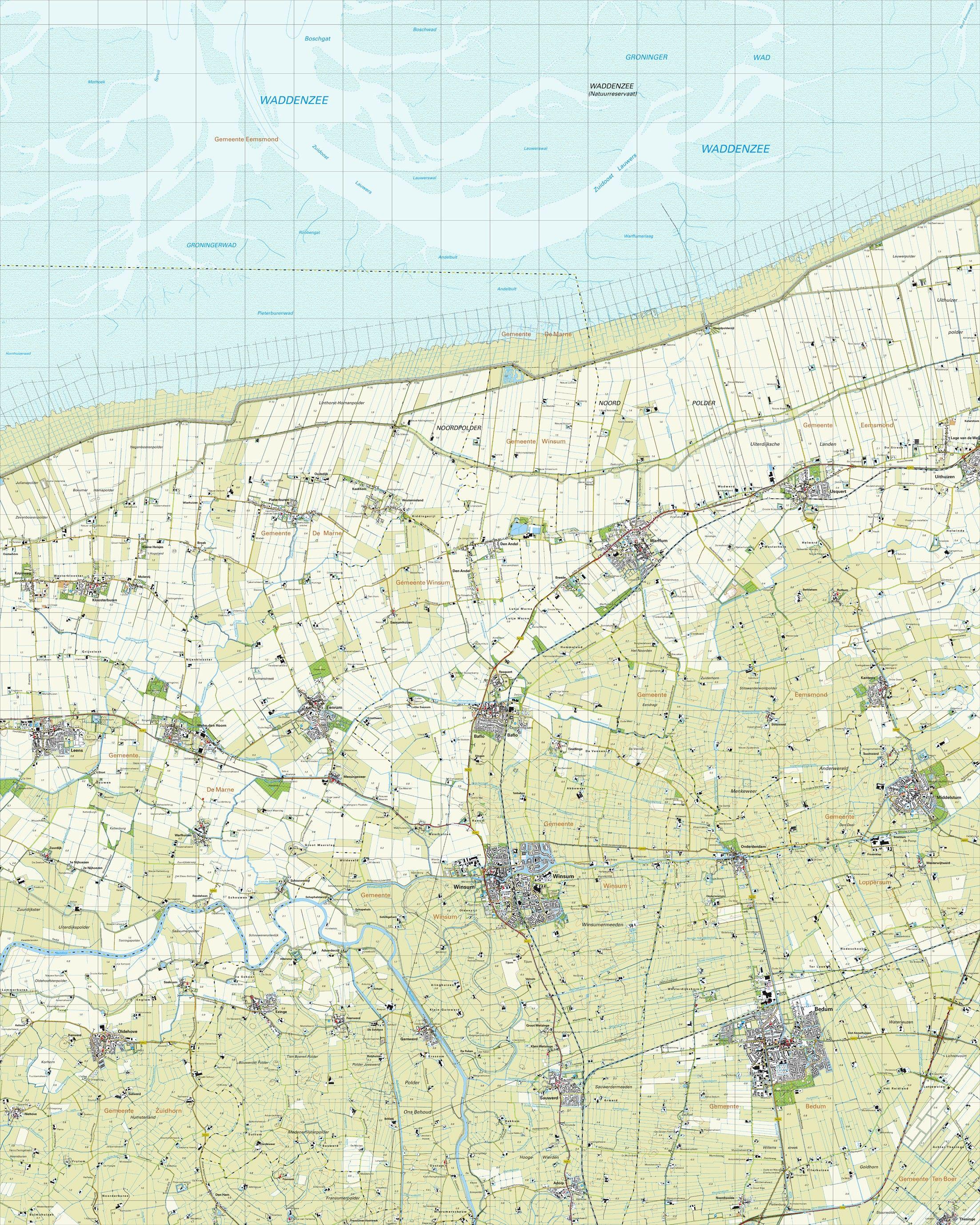 Topografische kaart schaal 1:25.000 (Warffum,Leens,Oldehove,Winsum,Bedum)