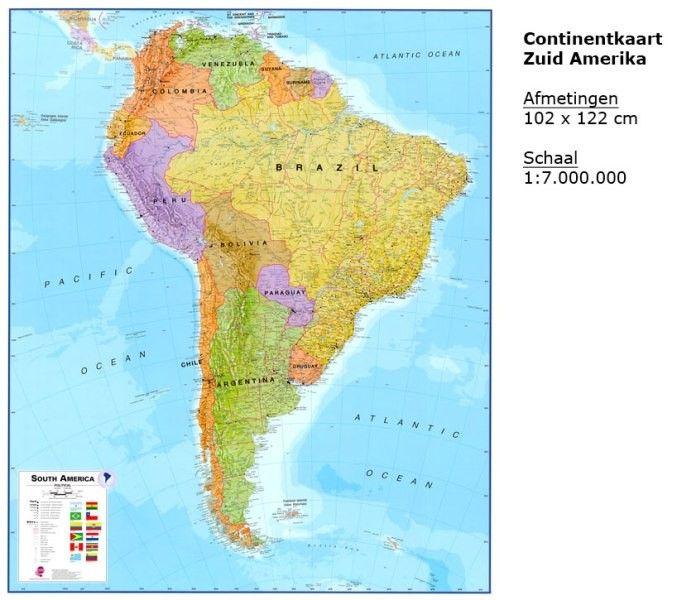 Continentkaart Zuid-Amerika Maps International 1:7.000.000