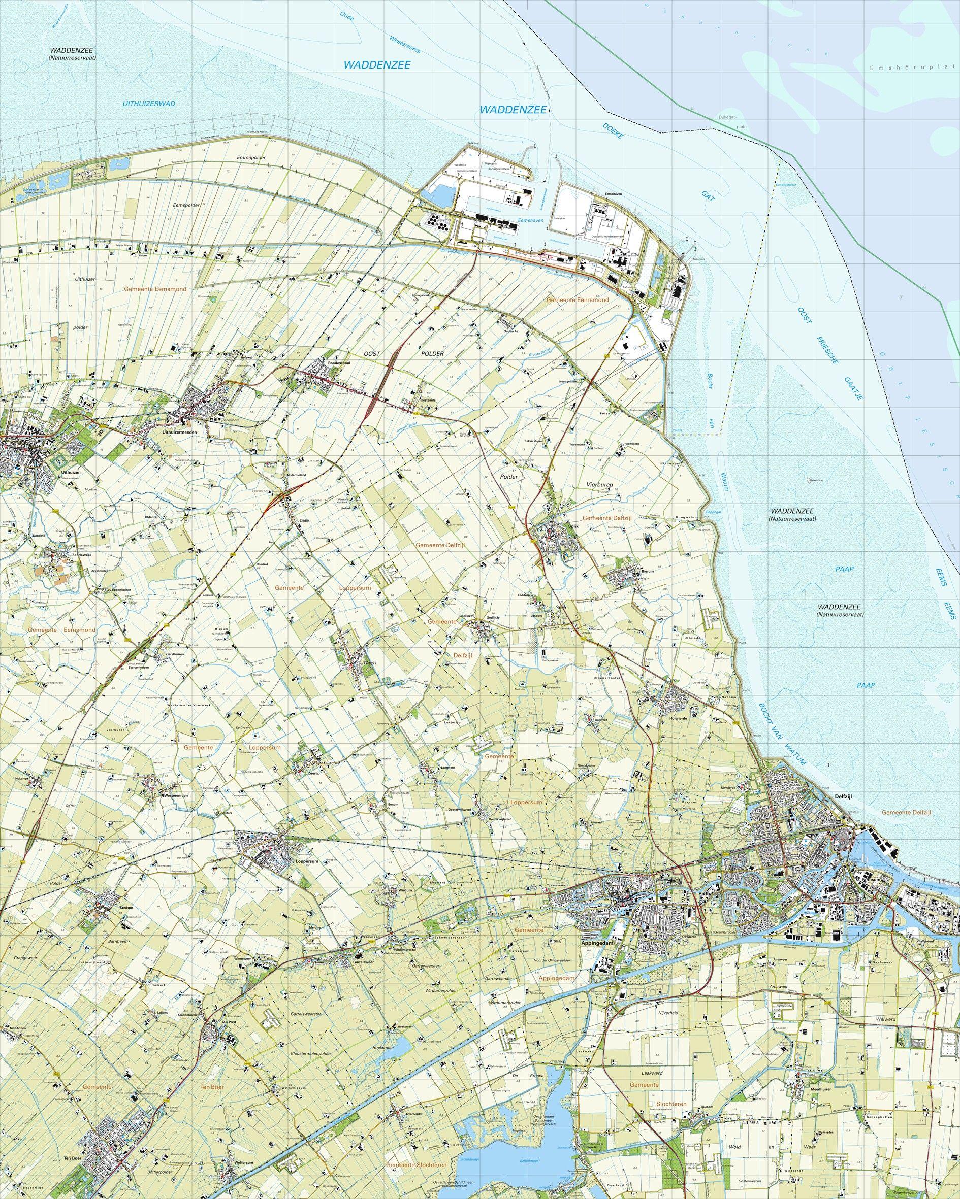 Topografische kaart schaal 1:25.000 (Delfzijl,Appingedam,Loppersum,Uithuizen,Ten Boer)