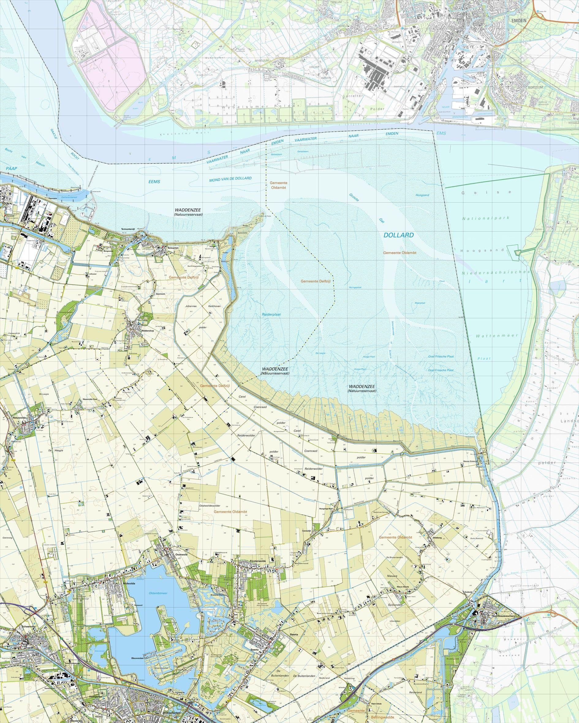 Topografische kaart schaal 1:25.000 (Termunten,Woldendorp,Winschoten,Beerta,Nieuweschans)