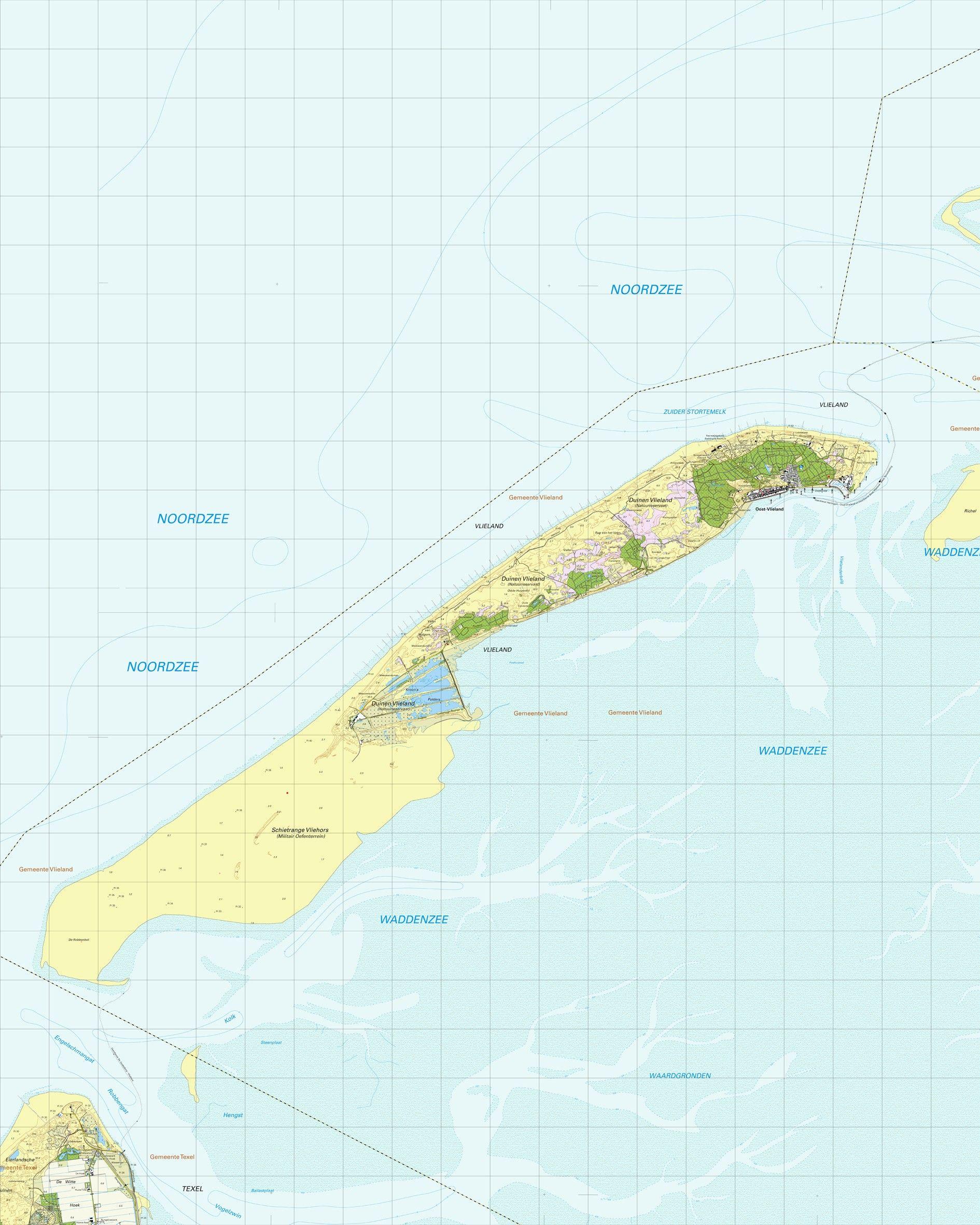Topografische kaart schaal 1:25.000 (Vlieland)