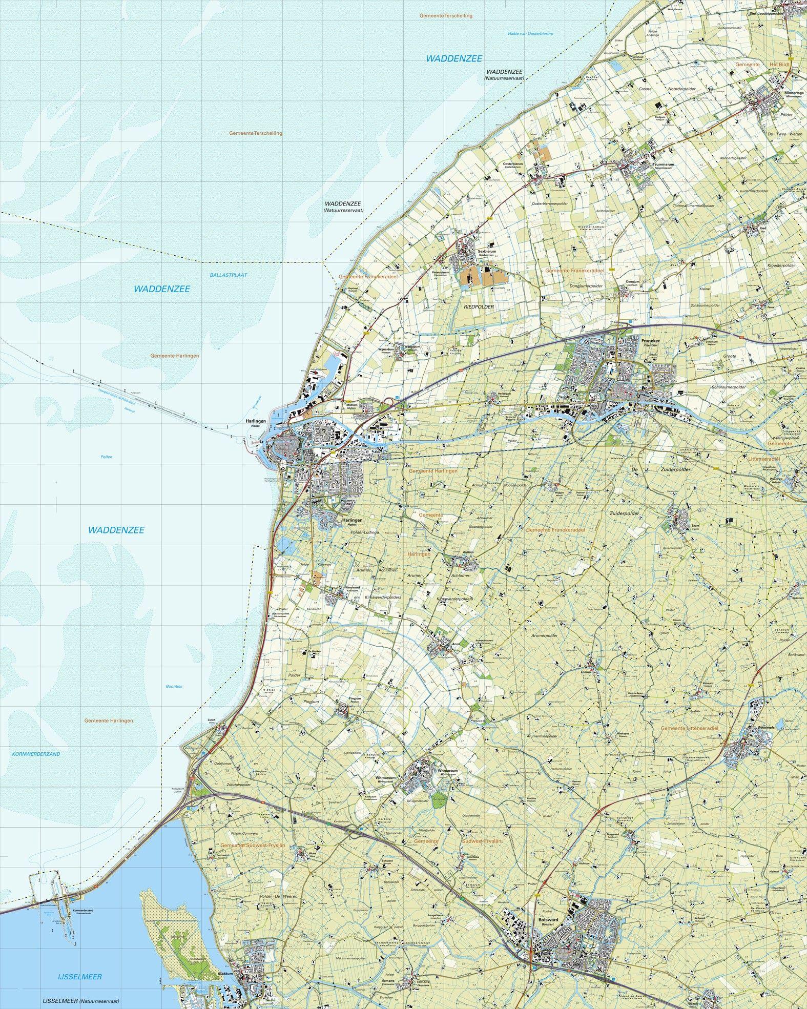 Topografische kaart schaal 1:25.000 (Harlingen,Franeker,Bolsward,Witmarsum,Makkum)