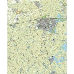 Topografische kaart schaal 1:25.000 (Leeuwarden, Dronryp, Stiens, Berlikum, Akkrum, Grou)