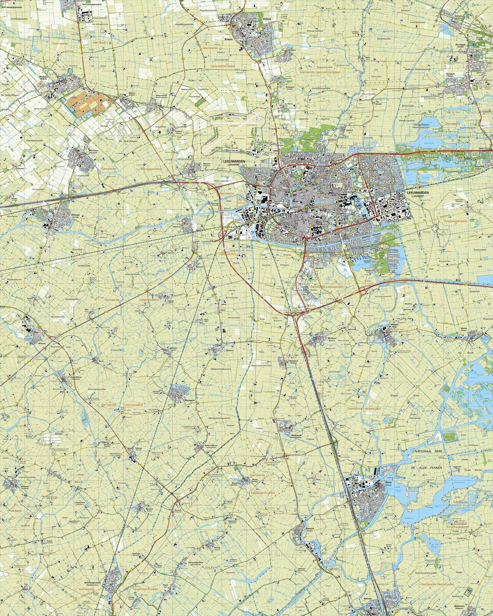 Topografische kaart schaal 1:25.000 (Leeuwarden,Dronryp,Stiens,Berlikum,Akkrum,Grou)