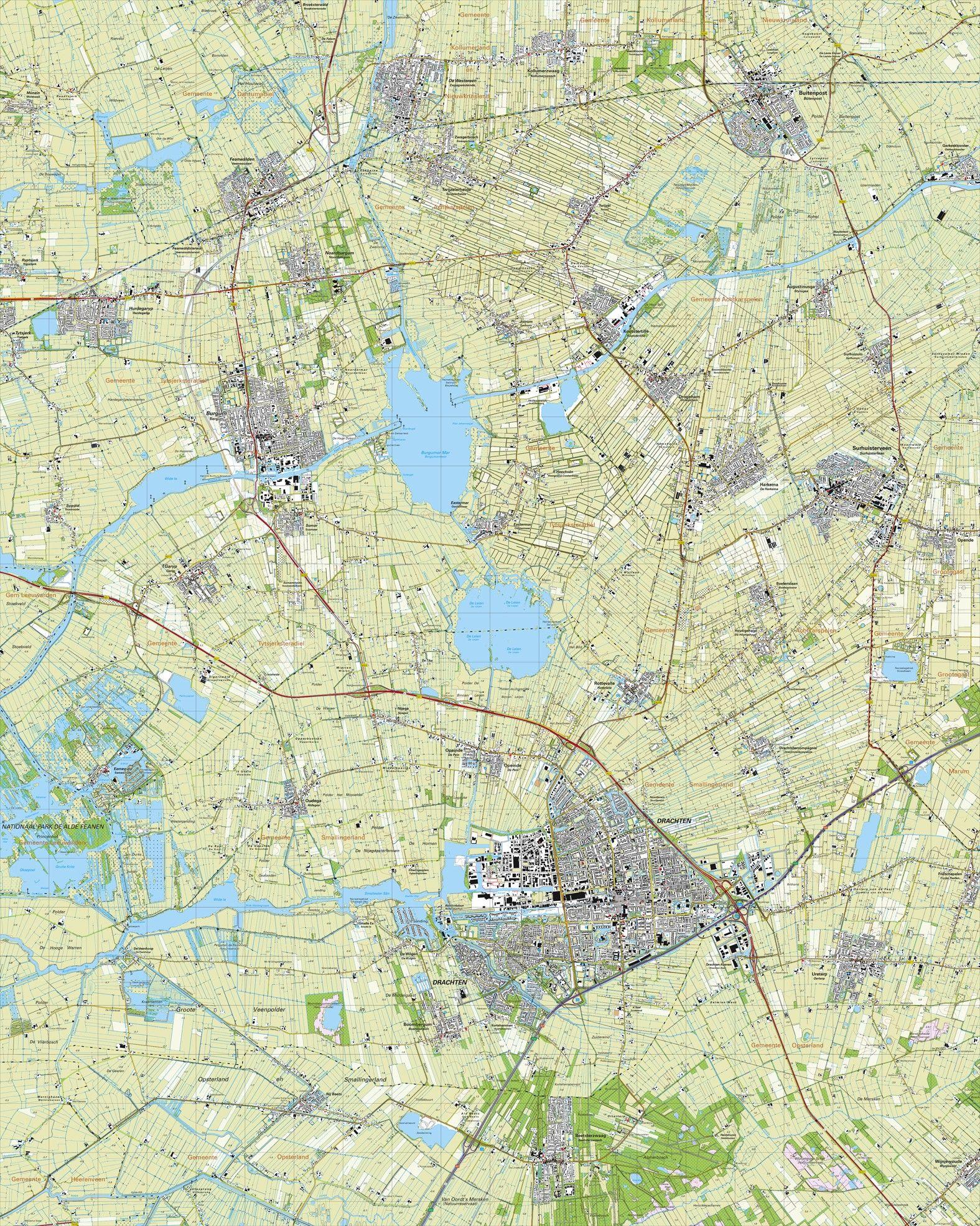 Topografische kaart schaal 1:25.000 (Buitenpost,Susrhuisterveen,Drachten,Beetsterzwaag,Bergum)