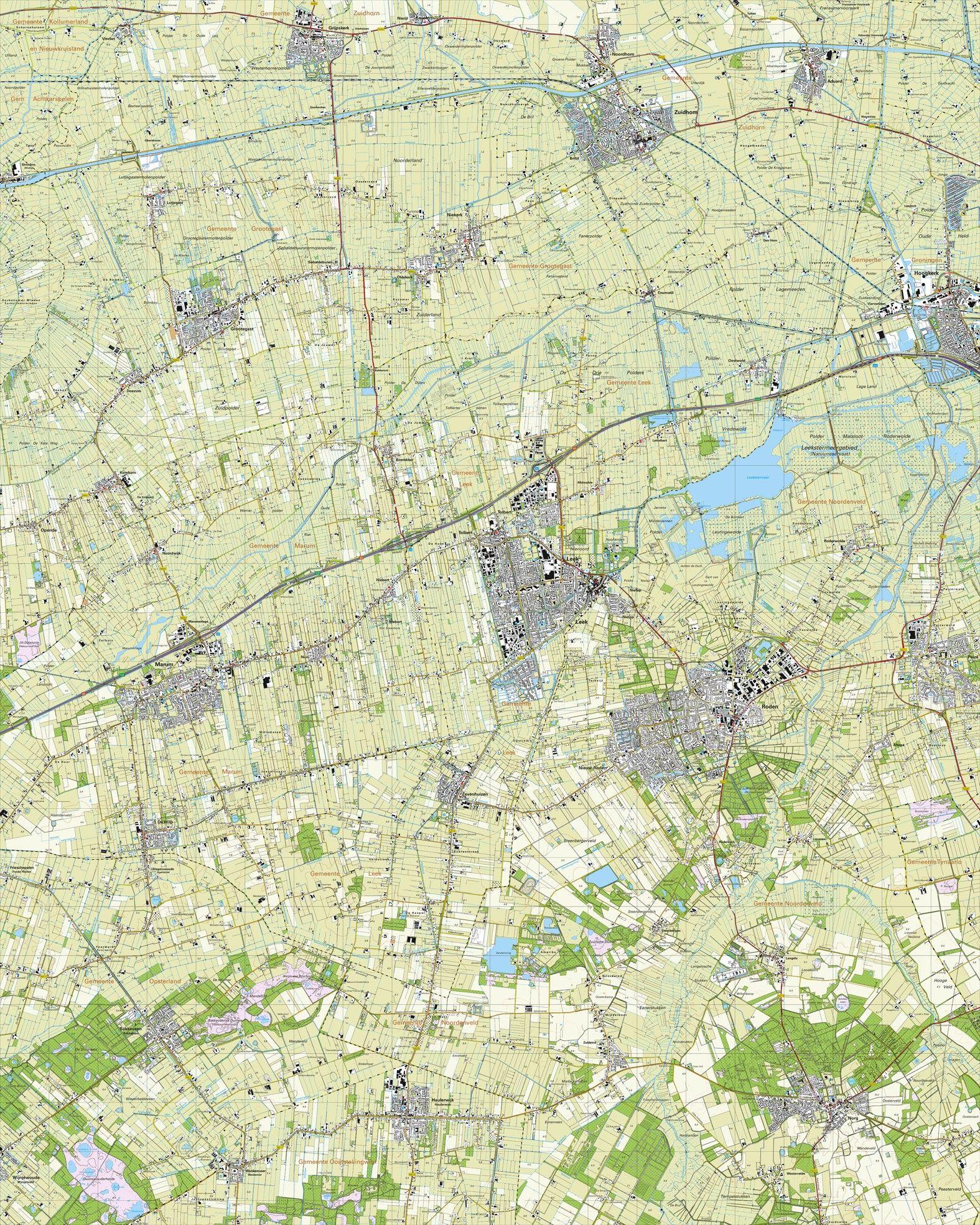 Topografische kaart schaal 1:25.000 (Zuidhorn,Leek,Grijpskerk,Roden,Norg,Marum)
