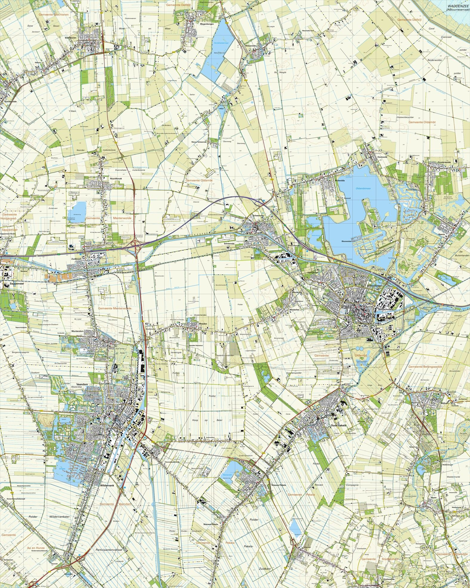 Topografische kaart schaal 1:25.000 (Winschoten,Oude-Pekela,Nieuwe-Pekela,Veendam,Zuidbroek)