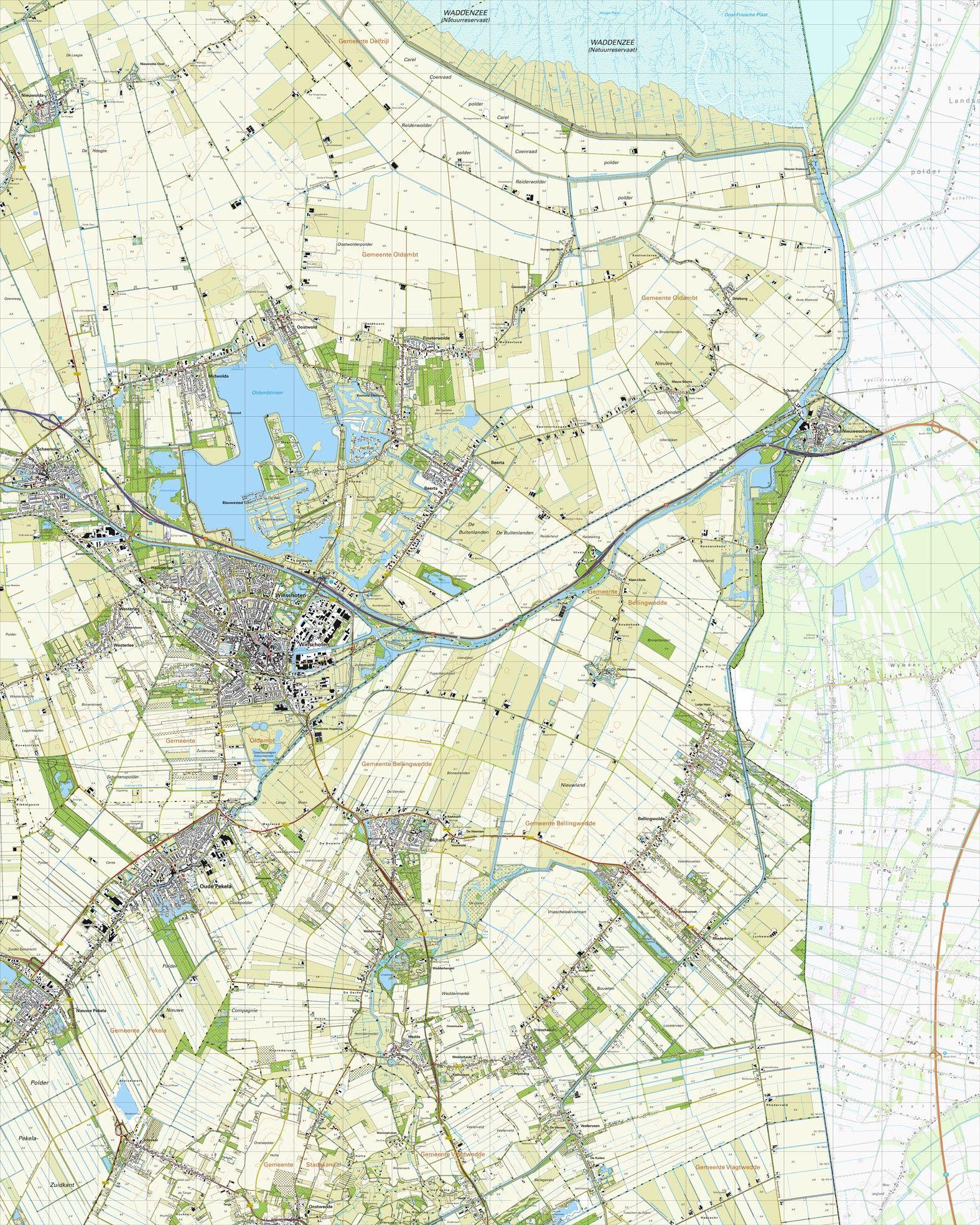 Topografische kaart schaal 1:25.000 (Scheemda,Winschoten,Nieuweschans,Blijham,Oude-Pekela)