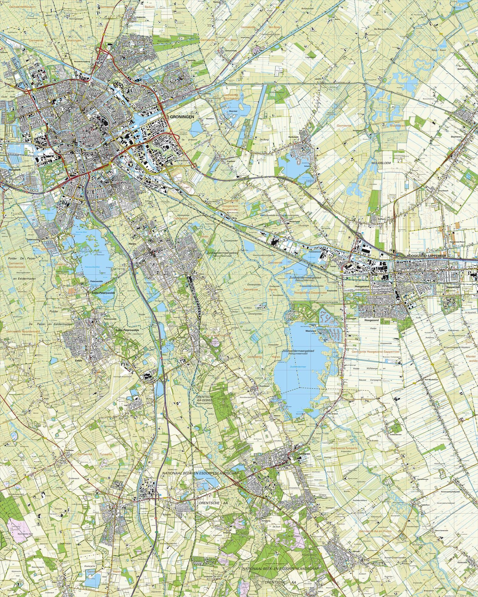Topografische kaart schaal 1:25.000 (Groningen,Haren,Eelde,Hoogezand-Sappemeer,Zuidlaren)