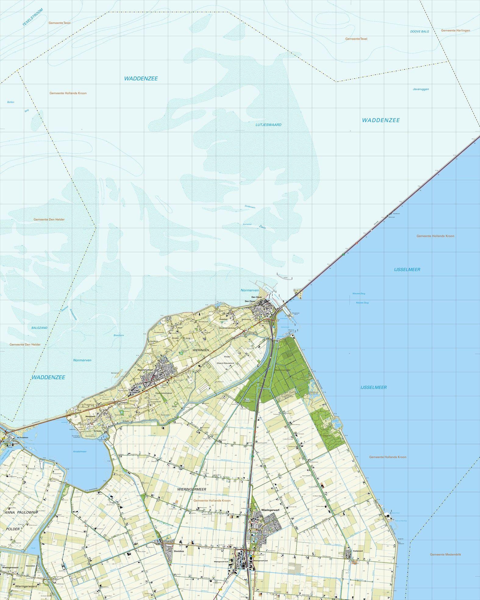 Topografische kaart schaal 1:25.000 (Den Oever, Hippolytushoef, Wieringerwerf, Slootdorp)