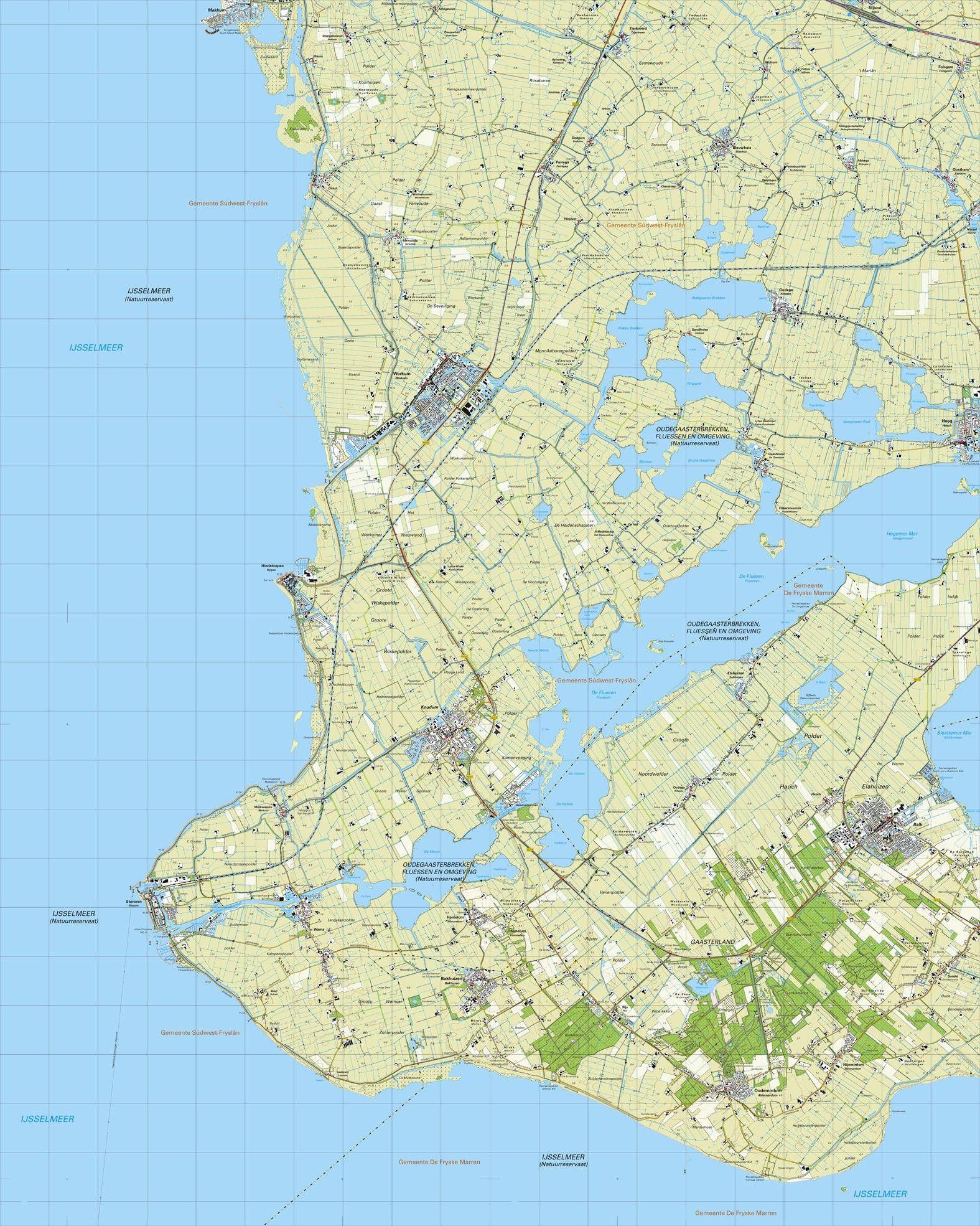 Topografische kaart schaal 1:25.000 (Makkum, Workum, Hindeloopen, Stavoren, Oudemirdum, Balk)