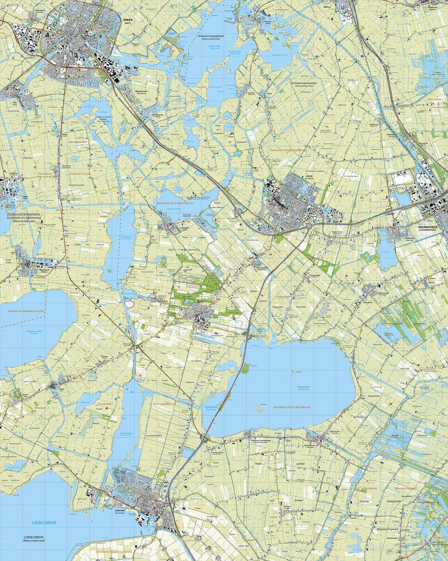 Topografische kaart schaal 1:25.000 (Sneek, Joure, Heernveen, Lemmer, Woudsend)
