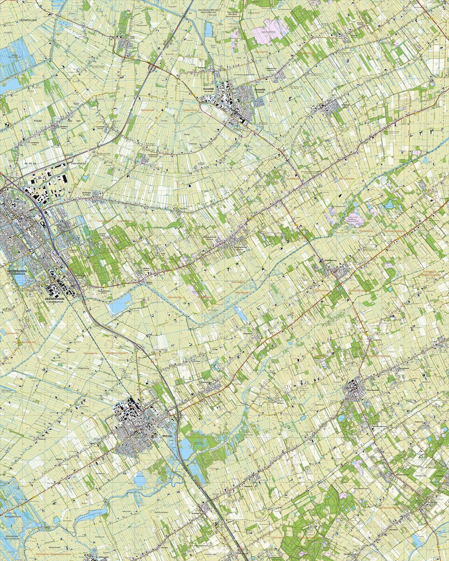 Topografische kaart schaal 1:25.000 (Heerenveen, Gorredijk, Noordwolde, Wolvega, Nieuwehorne)