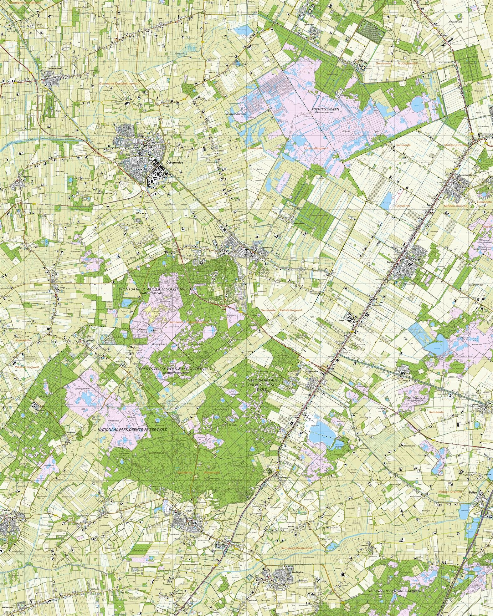 Topografische kaart schaal 1:25.000 (Oosterwolde, Appelscha, Smilde, Dwingeloo, Diever)