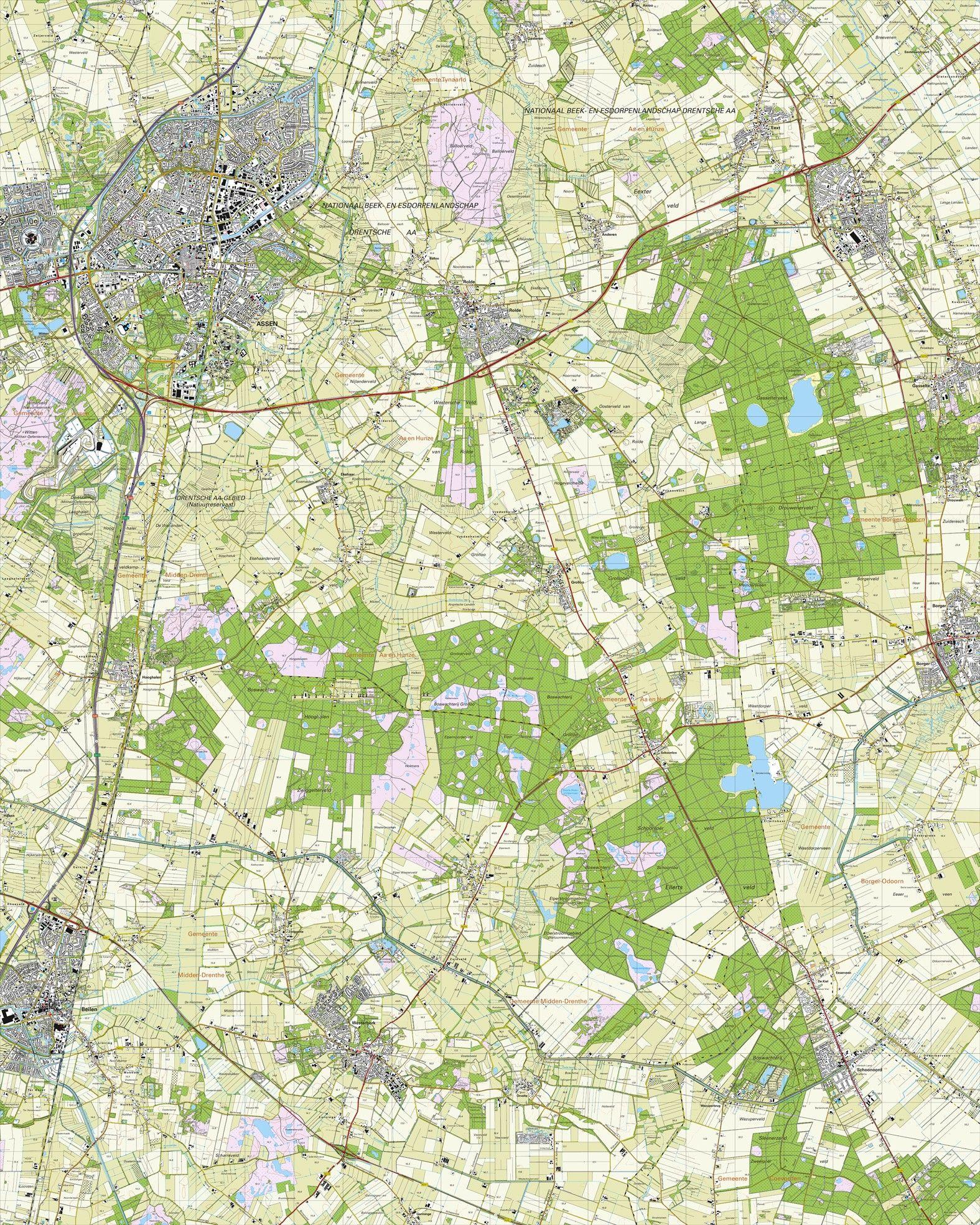 Topografische kaart schaal 1:25.000 (Assen, Rolde, Gieten, Beilen, Westerbork)