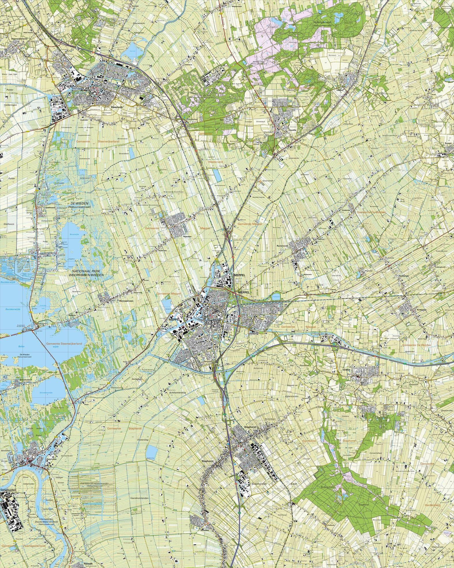 Topografische kaart schaal 1:25.000 (Steenwijk, Meppel, Staphorst, Zwartsluis, Havelte)