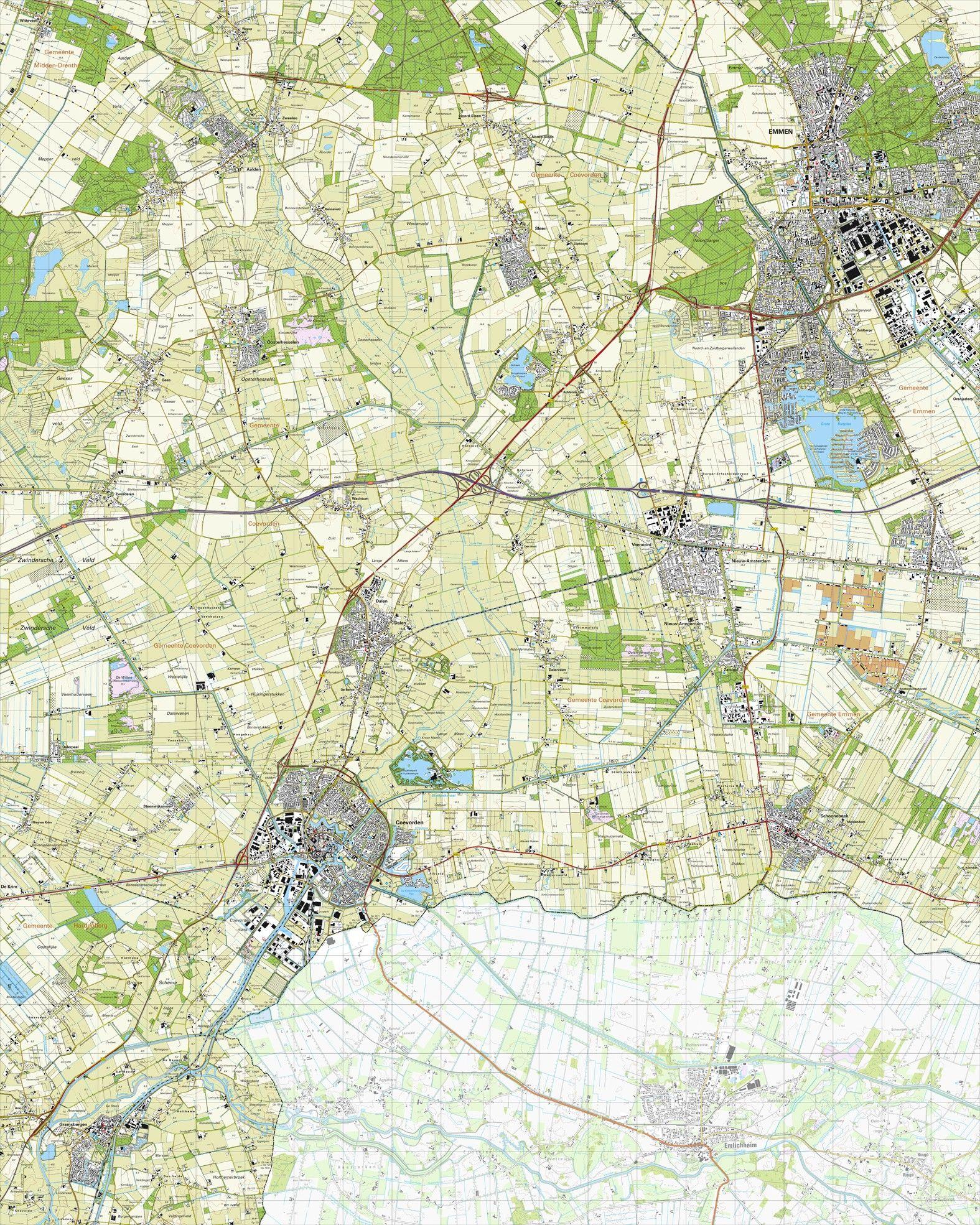 Topografische kaart schaal 1:25.000 (Emmen, Coevorden, Gramsbergen, Schoonebeek, Sleen)