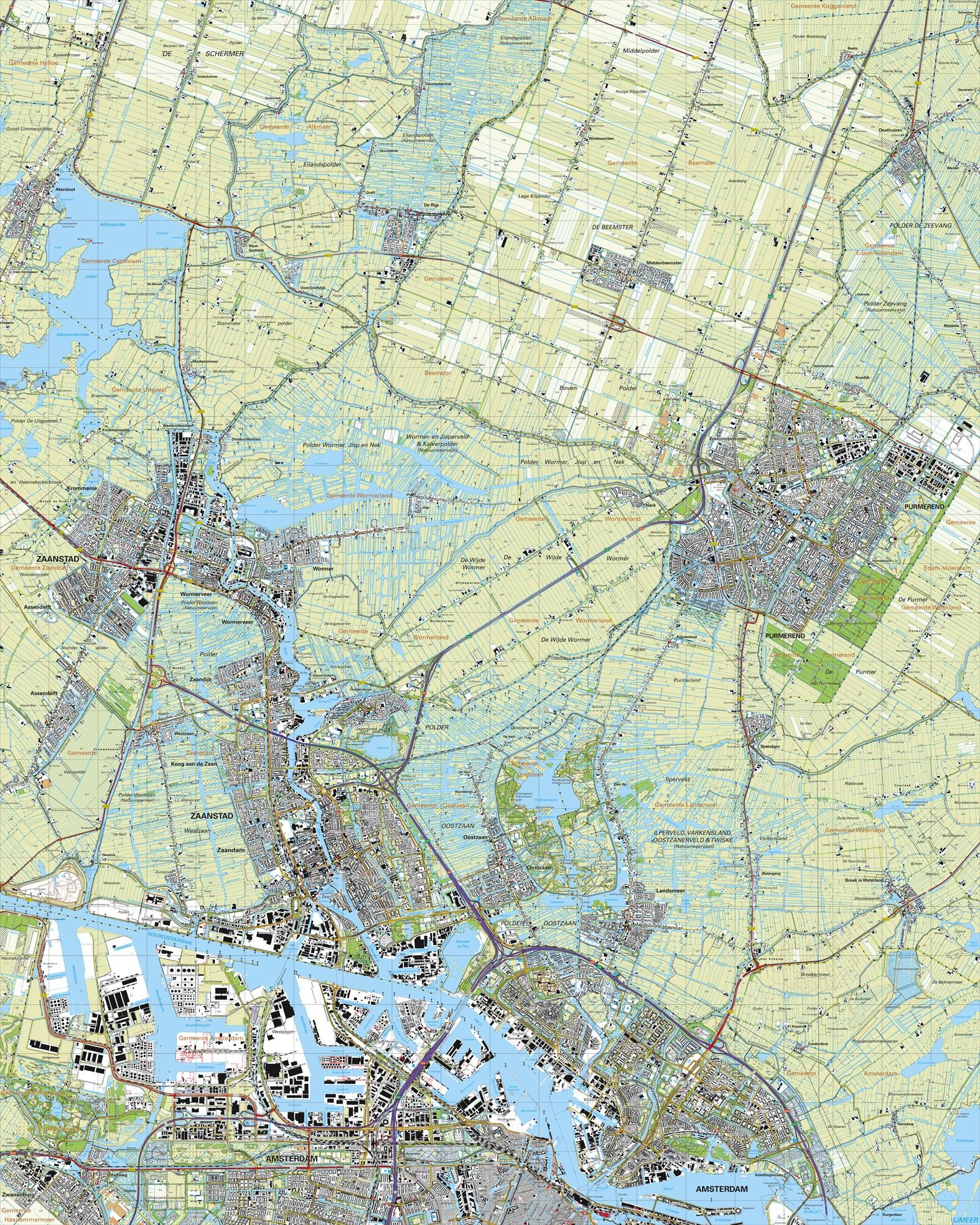 Topografische kaart schaal 1:25.000 (Purmerend, Zaandam, Amsterdam, de Rijp, Akersloot)