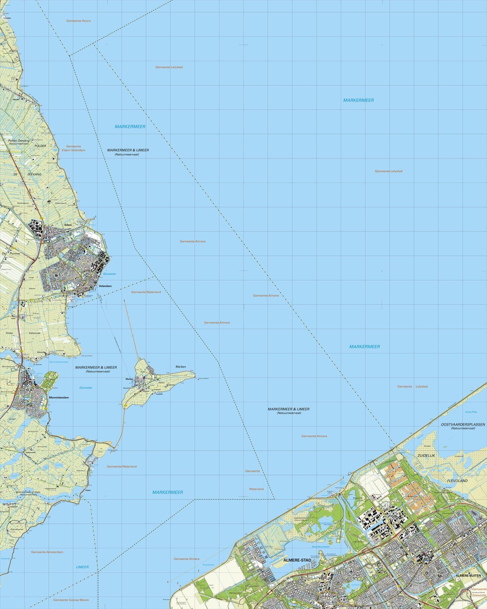 Topografische kaart schaal 1:25.000 (Volendam, Monnickendam, Marken, Almere)